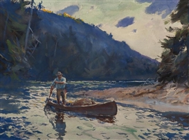 Artwork by John Whorf, Poling the River, Made of watercolor