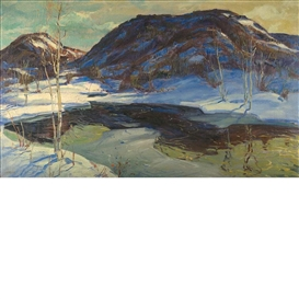 Artwork by Jonas Lie, First Thaw, Made of Oil on canvas