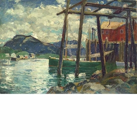 Artwork by Jonas Lie, Old Wharves, Maine, Made of Oil on canvas