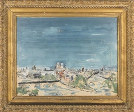 Artwork by Wilhelm Thöny, View of Paris, Made of oil on cardboard