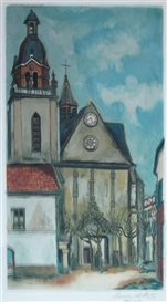 Artwork by Jacques Villon, L'eglise De Limous, Made of Aquatint