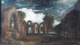Artwork by David Octavius Hill, Melrose Abbey By Moonlight, Made of Oil on panel