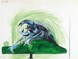 Artwork by Graham Sutherland, Study for bestiare, Beetle, Made of chalk, oil and gouache on paper