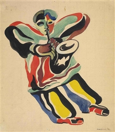 Artwork by Aleksandr Rodchenko, Le joueur de jazz, Made of watercolour, gouache, brush and ink and pencil on paper