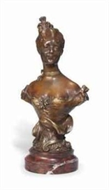 Artwork by Henri Godet, An Art Nouveau Bronze Bust Of A Young Girl, Made of Bronze