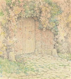 Artwork by Henri Eugène Augustin le Sidaner, Le portail de la maison rose, Gerberoy, Made of coloured crayon, pen and India ink and pencil on paper