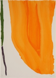 Artwork by Helen Frankenthaler, Orange Downpour (Harrison 27), Made of watercolor paper