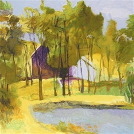 Artwork by Wolf Kahn, Barn Above Pond, Made of Serigraph in color