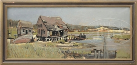 Artwork by John Whorf, Coastal Fish Shacks with Dunes Beyond, Made of Oil on canvas