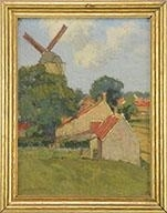 Artwork by Charles Warren Eaton, Dutch Landscape with Windmill, Made of Oil on canvas