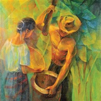 Ang Magbabayo (Pounding Rice) By Vicente Manansala ,1979