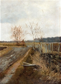 Artwork by Isaac Levitan, Landscape, Made of Oil on canvas laid on cardboard
