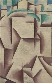 Artwork by Josef Capek, CUBIST LANDSCAPE - RECTO CONTEMPLATION - VERSO, Made of oil on canvas