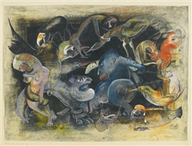 Artwork by Hannah Höch, EWIGER KAMPF II, Made of gouache, pen and ink, charcoal, silver pen and pencil on paper