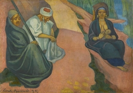 Artwork by Emile Bernard, JEUNE FEMME ALLAITANT (LA FUITE EN ÉGYPTE), Made of oil on canvas