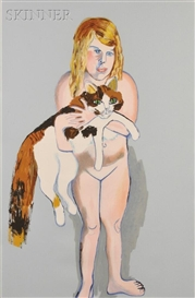 Artwork by Alice Neel, Victoria and Cat, Made of Color lithograph on paper