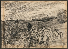 Artwork by Anton Mauve, Leading The Flock, Made of Charcoal on paper