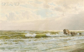 Artwork by William Trost Richards, Seascape, Made of Watercolor on paper/board