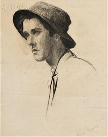 Thomas Eakins, POrtrait Study Of A Young Man With Hat, Probably Samuel Murray