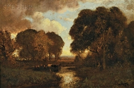 Artwork by William Keith, Autumn Sunset (Sonoma Creek, Sonoma County, California), Made of Oil on canvas
