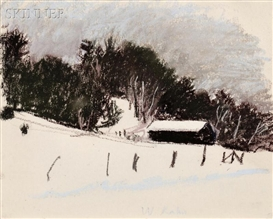 Artwork by Wolf Kahn, Barn in Winter, Made of Pastel on paper