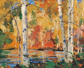 Artwork by Jonas Lie, Birches in Autumn, Made of Oil on canvas