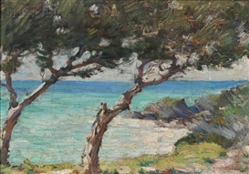Artwork by Clark Voorhees, Coastal View with Trees, Probably Bermuda, Made of Oil on artist board