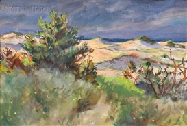 Artwork by John Whorf, Edge of the Dunes, Late Afternoon, Made of Watercolor on paper