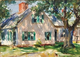 Artwork by John Whorf, House in Summer/A Double-sided Composition, Made of Watercolor on paper