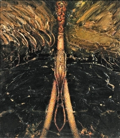 Artwork by Gregory Gillespie, Split Image Swamp, Made of Oil on Masonite