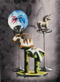 Artwork by Alexis Rockman, Study for Pet Store from the Wonderful World Series, Made of Watercolor and graphite on paper