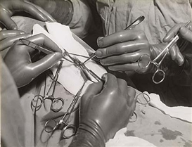 Hansel Mieth, Group of 7 intimite photographs of surgery being performed on an unidentified body part