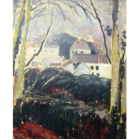 Artwork by Emile Bernard, View of a Village, Made of Oil on board
