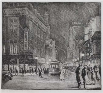 Winter Night, State and Broad Streets By George A. Bradshaw ,Circa  1930