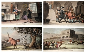 Artwork by Thomas Rowlandson, 4 works: Dr syntax series, Made of coloured aquatints