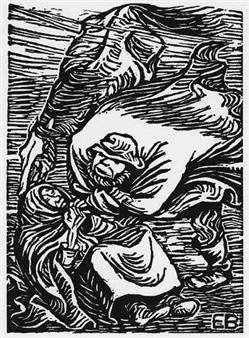 4 Works: Gruppe in Sturm; Der Hohe Herr; Fort mit dem Wort vom Menschenfrass & Verliebe Reverenz By Ernst Barlach ,Circa  1919