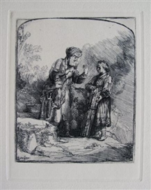 Artwork by Rembrandt van Rijn, Abraham And Isaac, Made of Etching