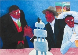 Artwork by Zwelethu Mthethwa, THE WEDDING PARTY, Made of pastel on fabriano paper