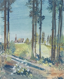 Artwork by Oskar Laske, Edge of a forest, with a church in the background, Made of watercolour and gouache on paper