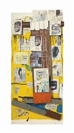 Artwork by Jean Michel Basquiat, Enob, Made of acrylic, oil, oilstick, xerox collage and wood collage on panel