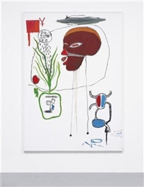 Artwork by Jean Michel Basquiat, For B.A.M., Made of acrylic and coloured oilstick on canvas