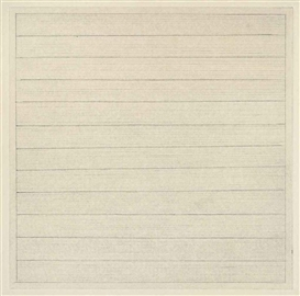 Artwork by Agnes Martin, Untitled, Made of pencil and ink on etching proof