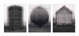 Artwork by Idris Khan, Three Works: Every... Bernd and Hilla Becher Prison Type Gasholders ; Every... Bernd and Hilla Becher Spherical Type Gasholders ; Every... Bernd and Hilla Becher Gable Side Houses, Made of digital colour coupler print mounted on aluminium