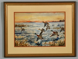 Artwork by John Whorf, Mallards Rising, Made of watercolor