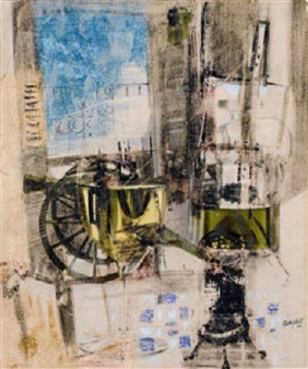 Abstract composition with a glass By George Campbell ,1960