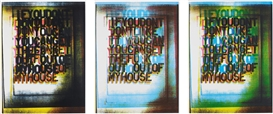 Artwork by Christopher Wool, My House I; II; and III, 2000, Made of Screenprints in colours, on Matt Custom Art paper