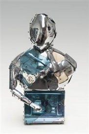 Artwork by Paul Van Hoeydonck, Astro, Made of Chromed metal, wood, plexi