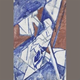 Artwork by David Bomberg, Study for 'Bargees', Made of pencil, ink and watercolour