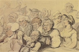 Artwork by Thomas Rowlandson, THE RUSTIC CHOIR, Made of ink, watercolor and wash over pencil on paper