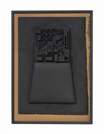 Artwork by Louise Nevelson, Untitled, Made of oil, seat cushion and wood collage on panel